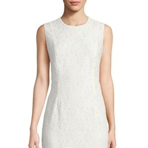 DVF Sleeveless Tailored Lace Sheath Dress, Ivory